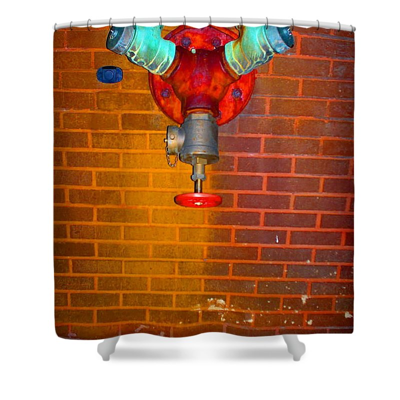 Photograph Shower Curtain featuring the photograph Red Pipe by Thomas Valentine
