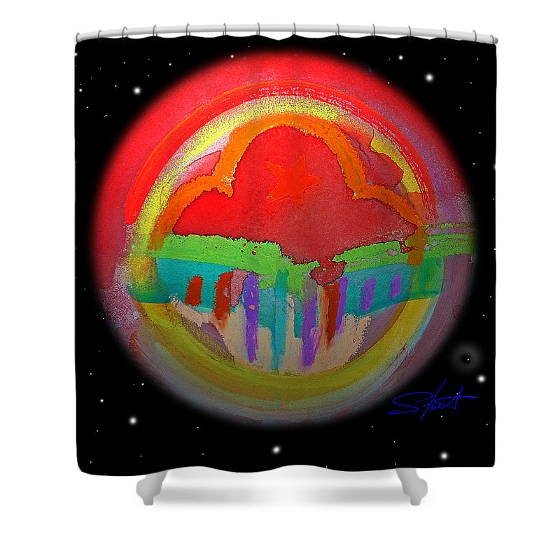 Landscape Shower Curtain featuring the painting Red Planet by Charles Stuart
