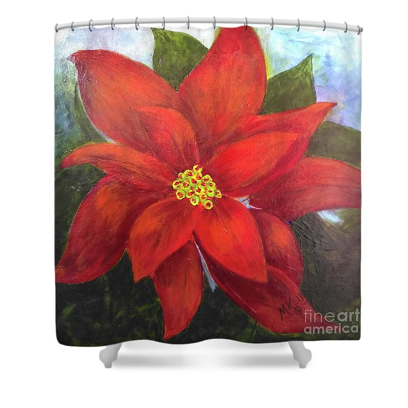 Flower Shower Curtain featuring the painting Red Poinsettia by Marsha McAlexander