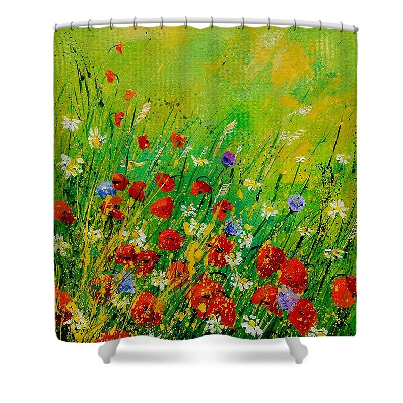 Flowers Shower Curtain featuring the painting Red Poppies 450708 by Pol Ledent