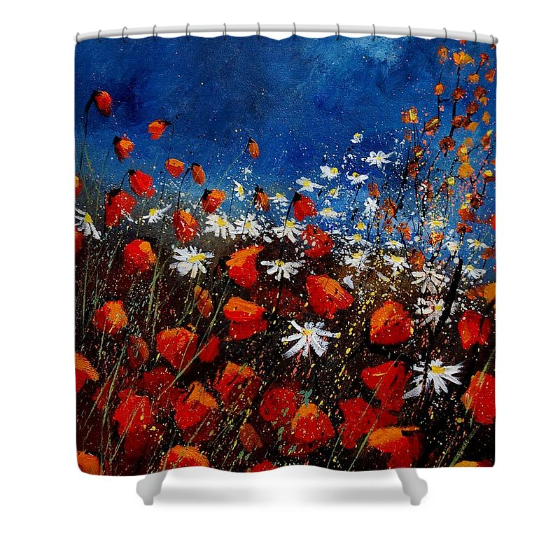Flowers Shower Curtain featuring the painting Red Poppies 451108 by Pol Ledent