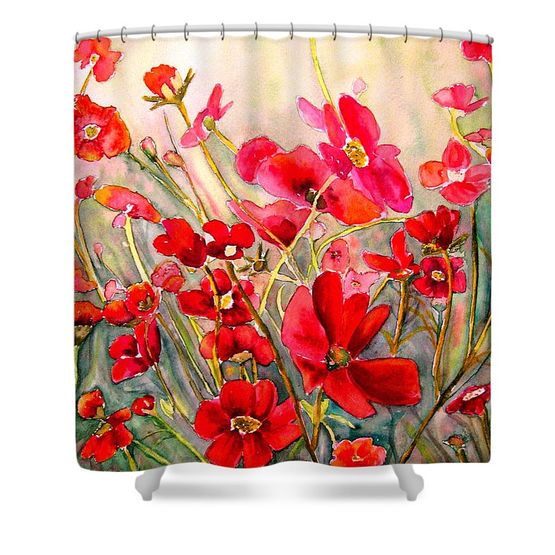 Poppies Shower Curtain featuring the painting Red Poppies by Carole Spandau