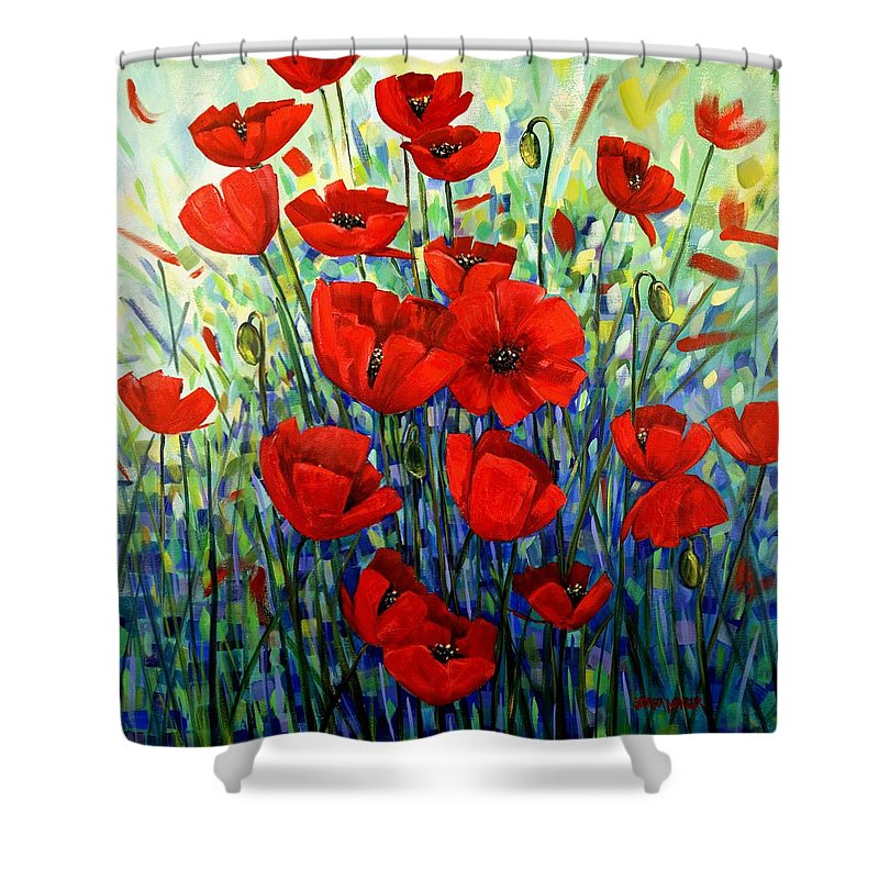 Floral Shower Curtain featuring the painting Red Poppies by Georgia Mansur