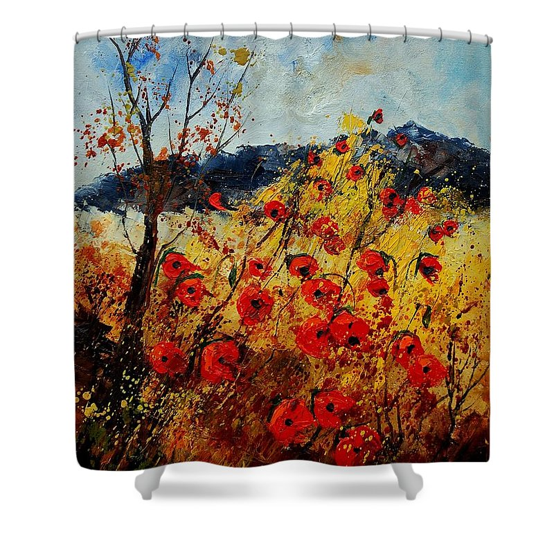 Poppies Shower Curtain featuring the painting Red Poppies In Provence by Pol Ledent