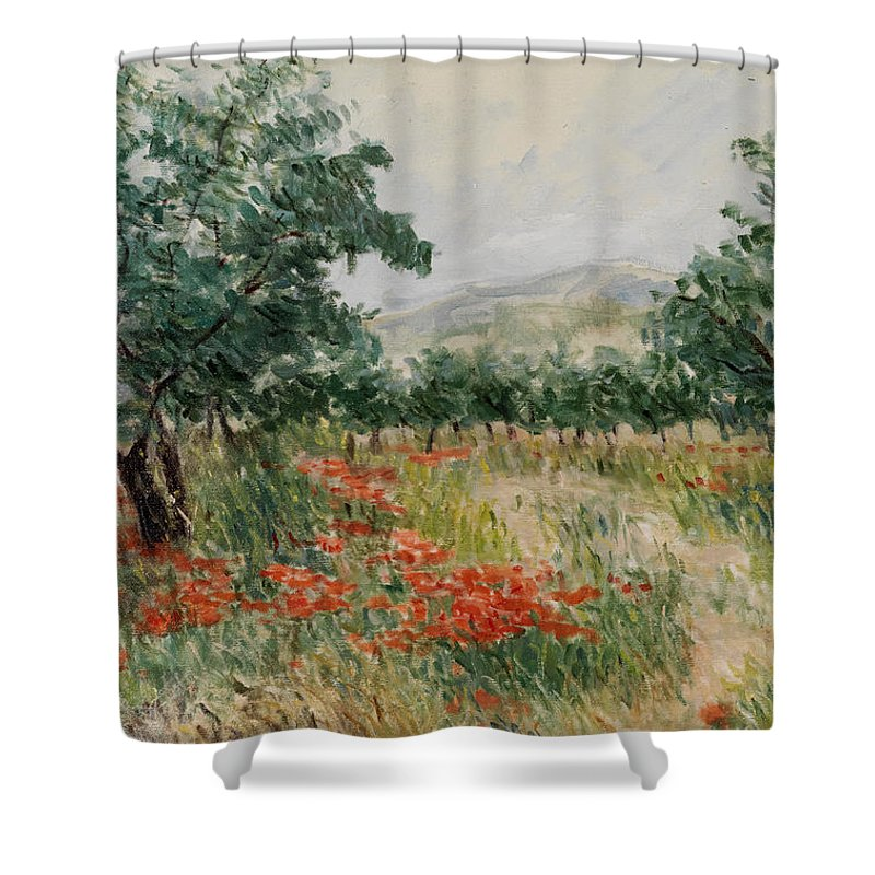 Olive Trees Shower Curtain featuring the painting Red Poppies In The Olive Garden by Gonul Engin YILMAZ