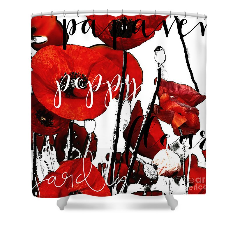 Original Art By Mindy Sommers Copyright 2015 All Rights Reserved. Shower Curtain featuring the painting Red Poppies by Mindy Sommers