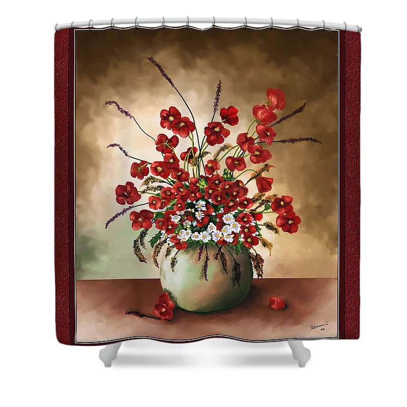 Red Poppies Shower Curtain featuring the digital art Red Poppies by Susan Kinney