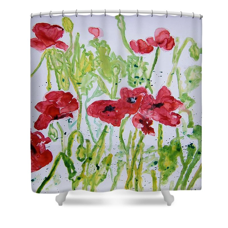 Poppy Shower Curtain featuring the painting Red Poppy Flowers by Derek Mccrea