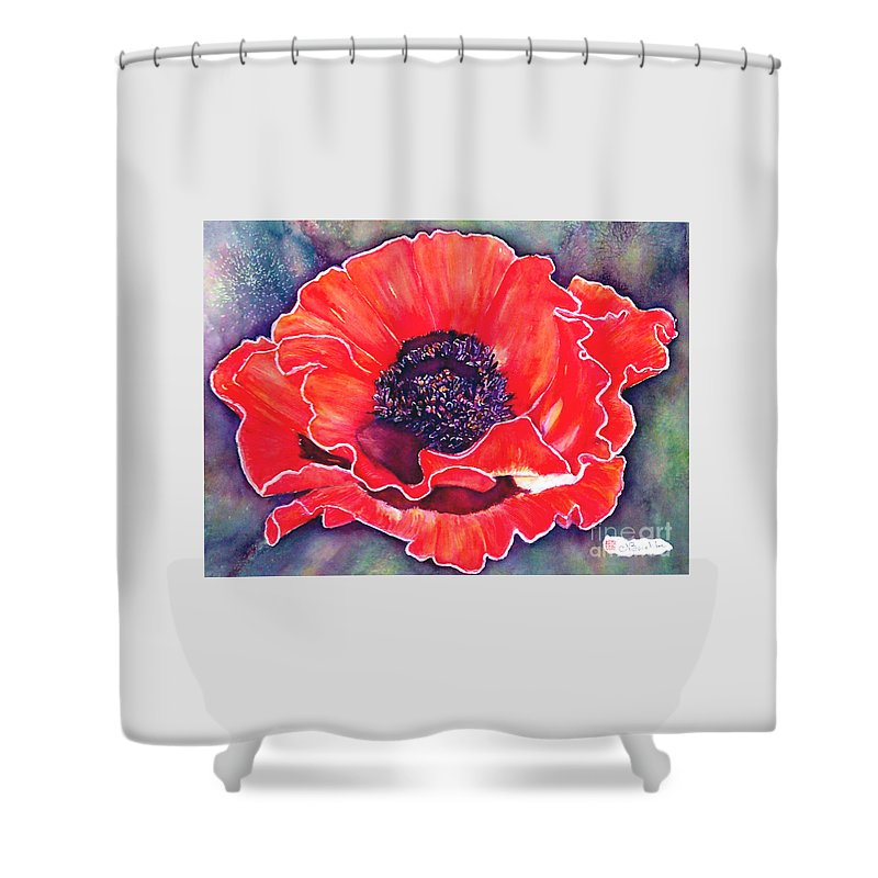 Red Flowers Shower Curtain featuring the painting Red Poppy by Norma Boeckler