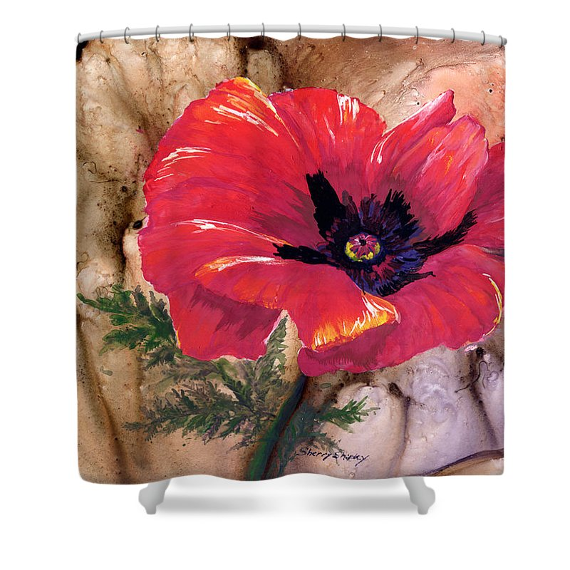 Flower Shower Curtain featuring the painting Red Poppy by Sherry Shipley