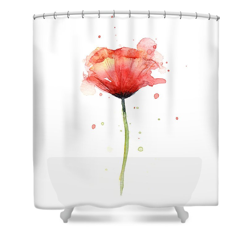 Watercolor Poppy Shower Curtain Featuring The Painting Red By Olga Shvartsur