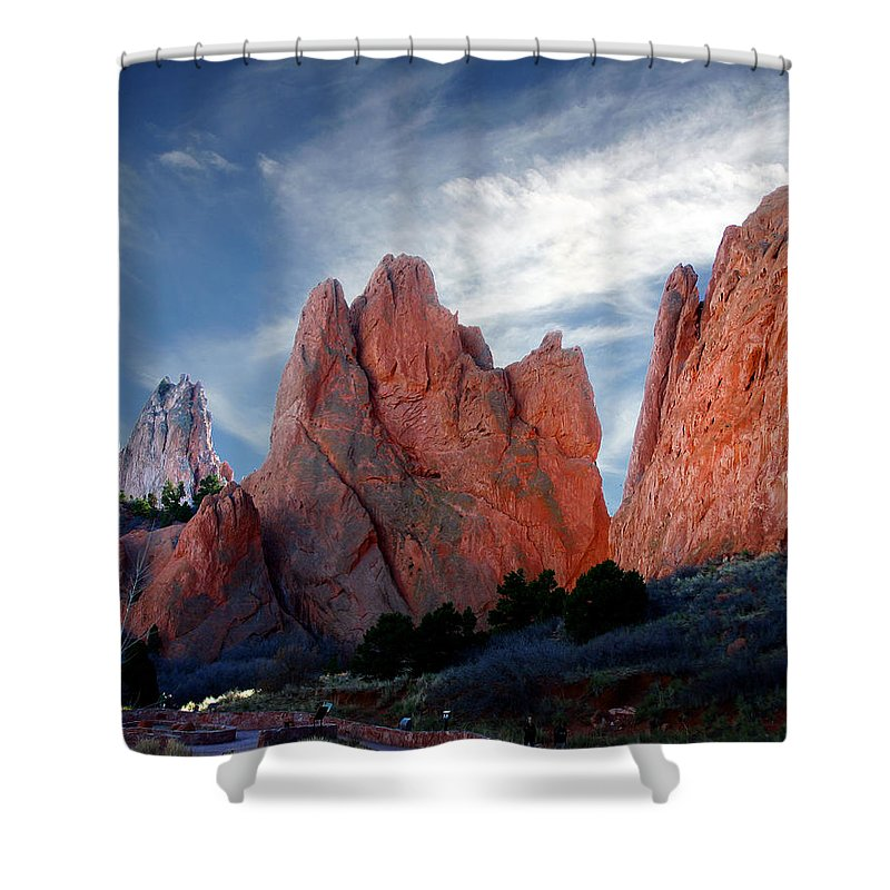 Garden Of The Gods Shower Curtain featuring the photograph Red Rock by Anthony Jones