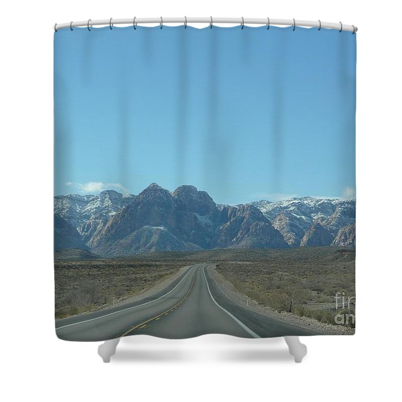 Shower Curtain featuring the photograph Red Rock Canyon Drive by Barb Montanye Meseroll