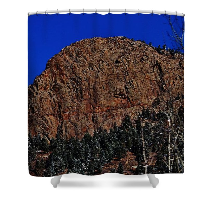 Winter Shower Curtain featuring the photograph Red Rock Cliff by CL Redding