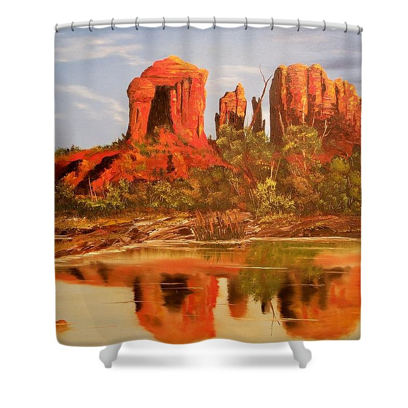 Rocks Shower Curtain featuring the painting Red Rock by Patrick Trotter