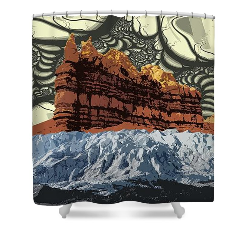 Glacier Art Shower Curtain featuring the digital art Red Rock White Ice by Ron Bissett
