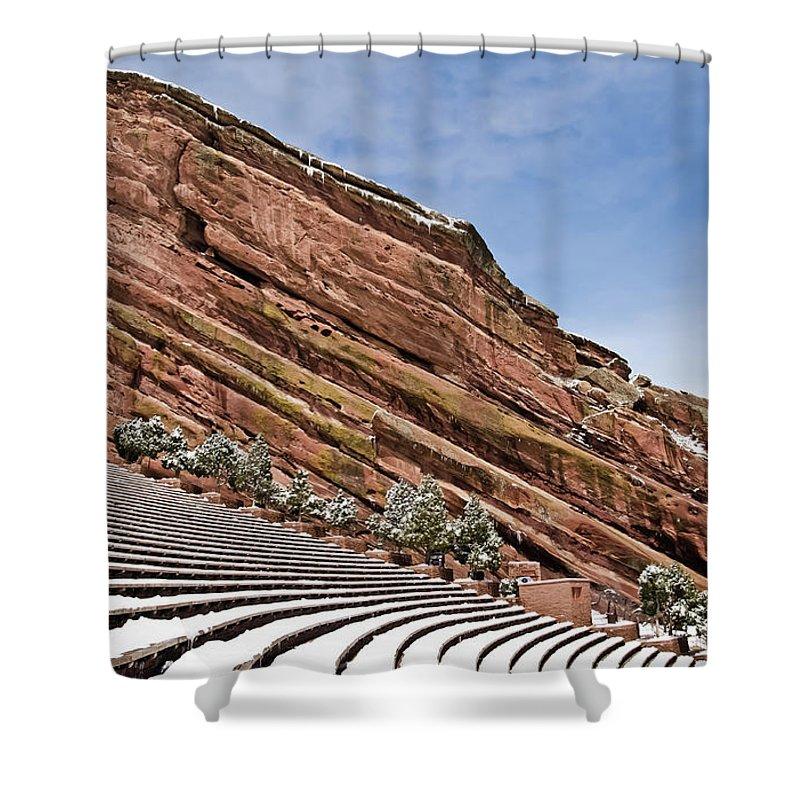 Red Rocks Amphitheater Shower Curtain featuring the photograph Red Rocks Amphitheater by Robert VanDerWal