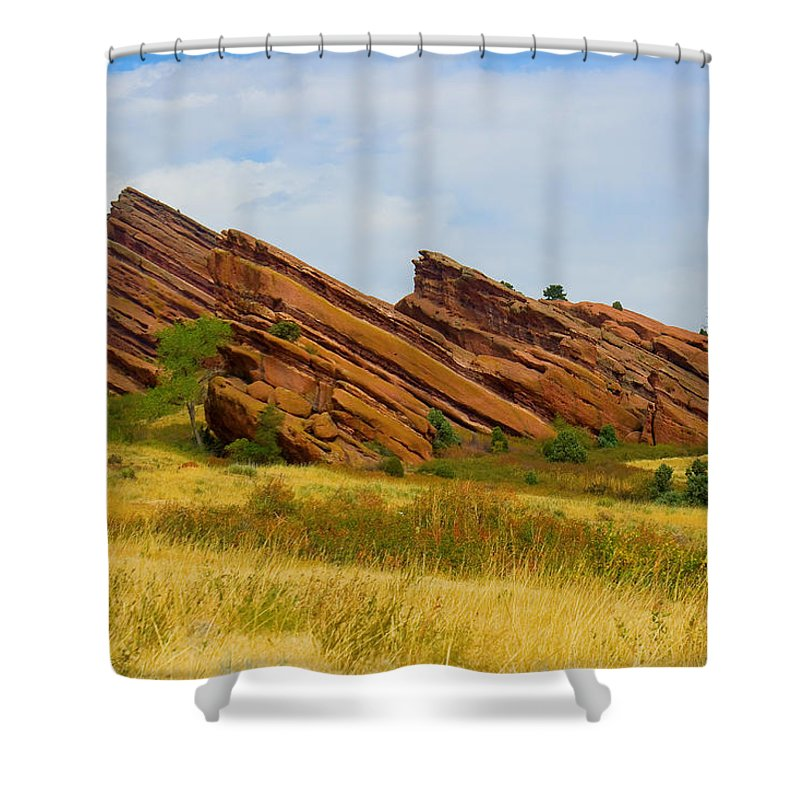 Red Rocks Shower Curtain featuring the photograph Red Rocks by James BO Insogna