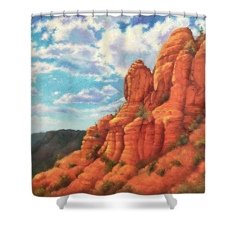 Sedona Shower Curtain featuring the painting Red Rocks by Teri Rosario