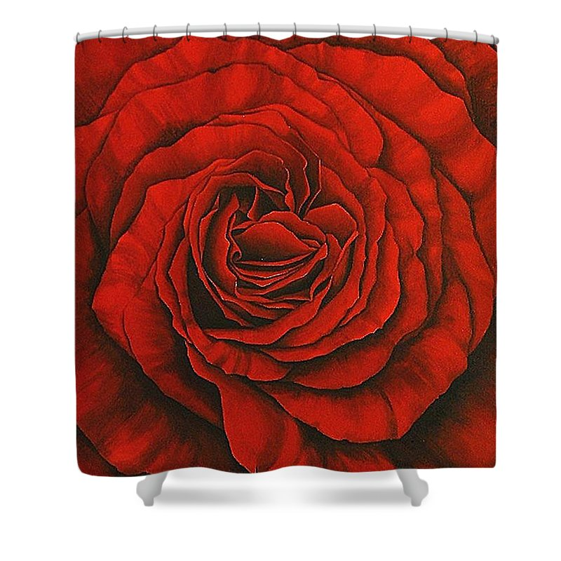Red Shower Curtain featuring the painting Red Rose II by Rowena Finn
