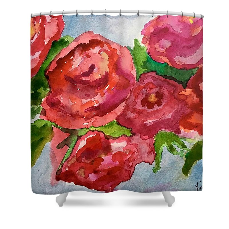 Red Shower Curtain featuring the painting Red Roses, Red Roses by Kimberly Balentine