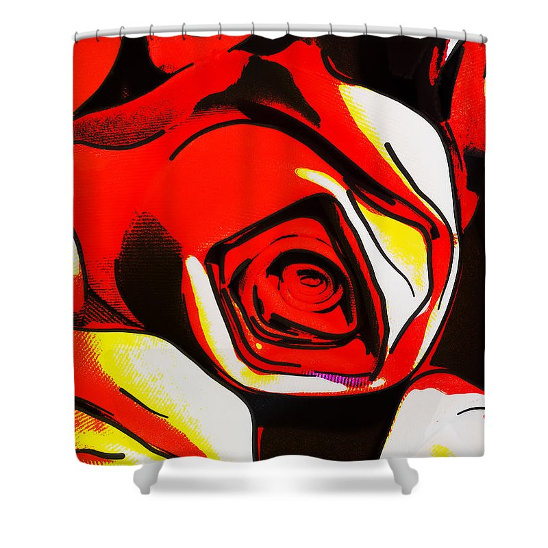 Art Shower Curtain featuring the digital art Red Roses by Steve Taylor