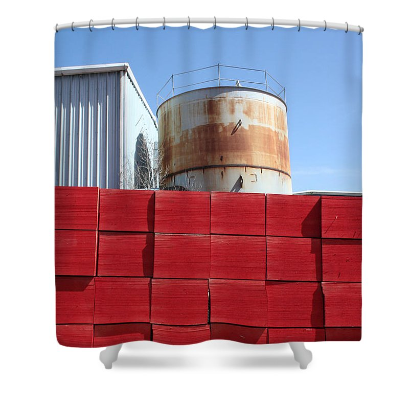 Red Shower Curtain featuring the photograph Red Rust And Blue by Ric Bascobert