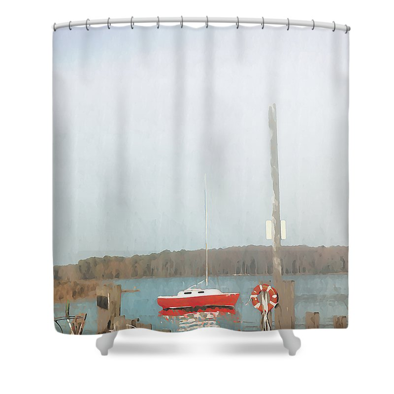 Bay Shower Curtain featuring the photograph Red Sailboat In The Fog by Bill Cannon