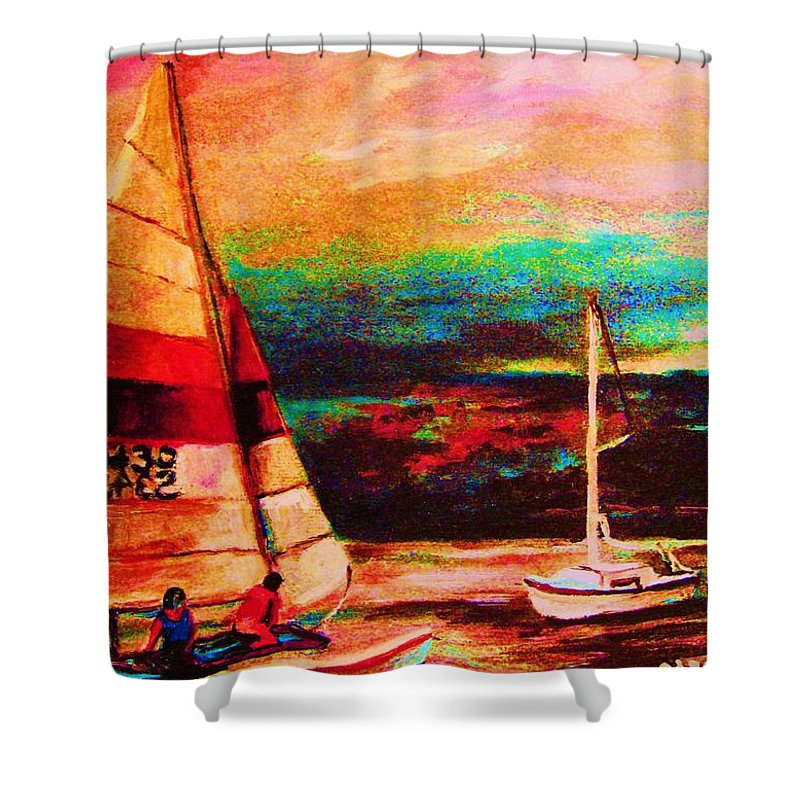 Sailing Shower Curtain featuring the painting Red Sails In The Sunset by Carole Spandau