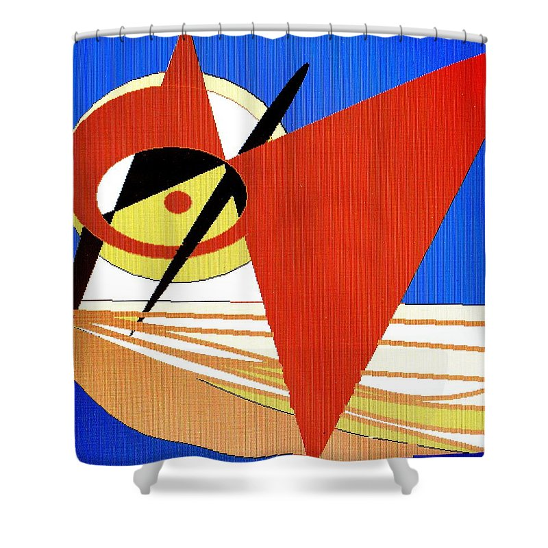 Boat Shower Curtain featuring the digital art Red Sails In The Sunset by Ian MacDonald