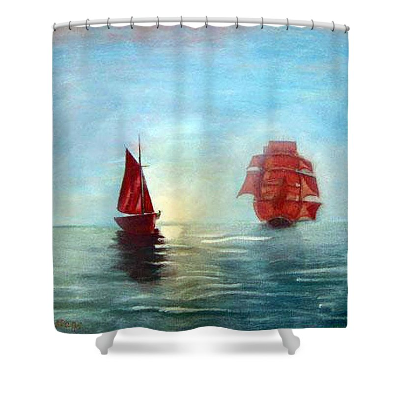 Sail Ship Shower Curtain featuring the painting Red Sails In The Sunset by Richard Le Page