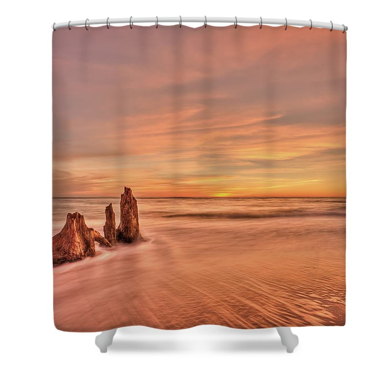 Sunset Shower Curtain featuring the photograph Red Sensation by Evelina Kremsdorf