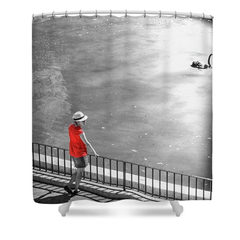 Palmademallorca Shower Curtain featuring the photograph Red Shirt, Black Swanla Seu, Palma De by John Edwards
