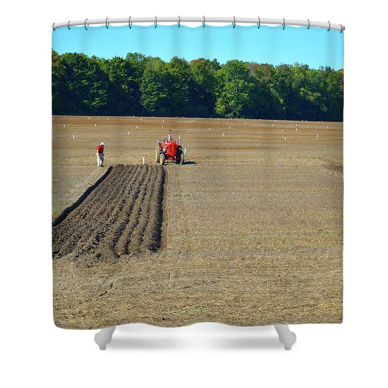 Farm Shower Curtain featuring the photograph Red Shirt Red Tractor by Lyle Crump