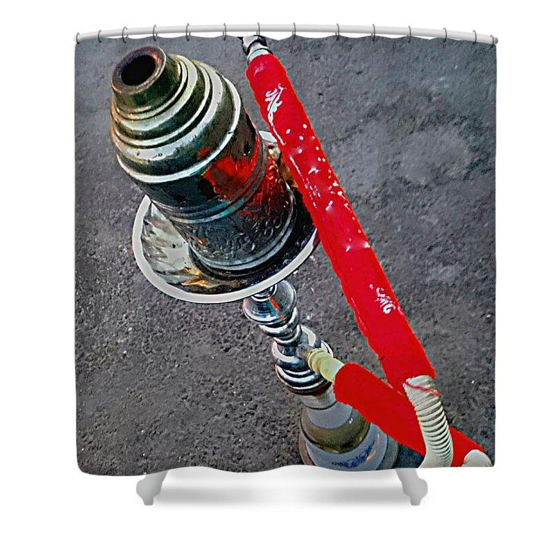 Red Shisha Hookah Smoking Water Pipe Street Asphalt Grey Metal Silver Shower Curtain featuring the photograph Red Shisha by Mina Milad
