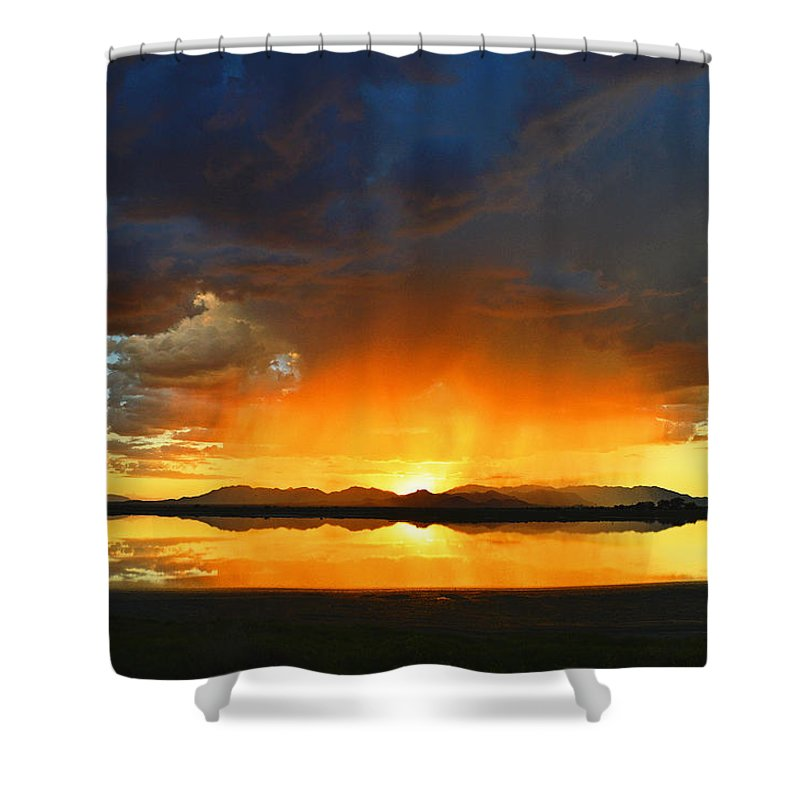 Sunset Shower Curtain featuring the photograph Red Shower by Brent Hall