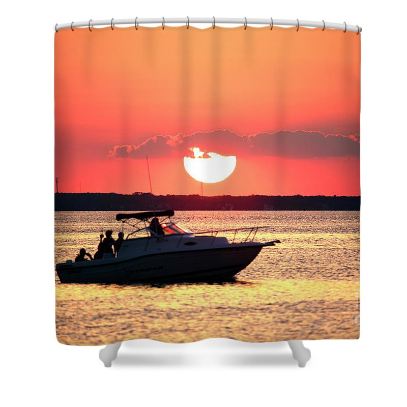 Red Sky At Long Beach Island Shower Curtain featuring the photograph Red Sky At Long Beach Island by John Rizzuto