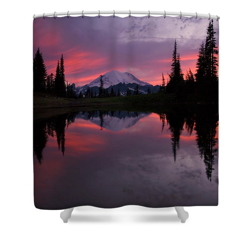 Rainier Shower Curtain featuring the photograph Red Sky At Night by Mike Dawson