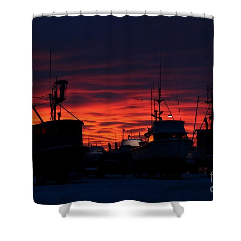Sunset Shower Curtain featuring the photograph Red Sky At Night by Rick Monyahan