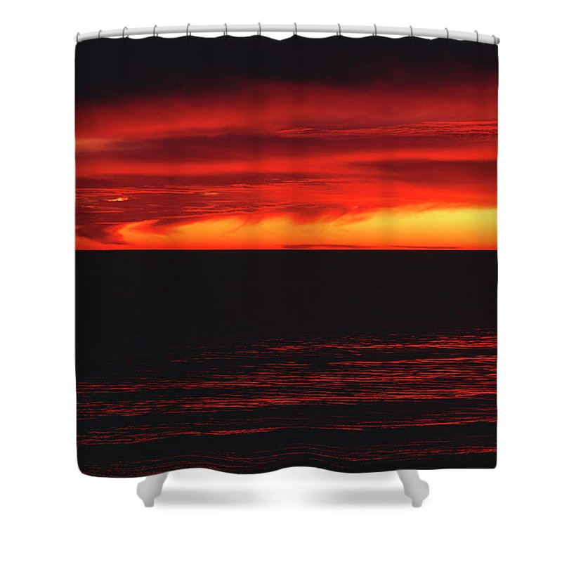 The Walkers Shower Curtain featuring the photograph Red Sky At Night by The Walkers