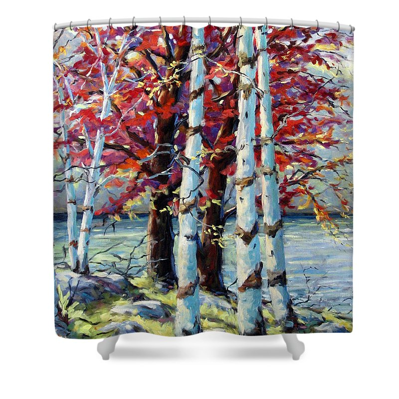 Birches Shower Curtain featuring the painting Red Splash by Richard T Pranke