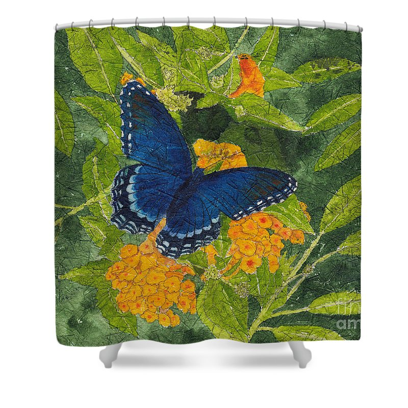 Butterfly Shower Curtain Featuring The Painting Red Spotted Purple Batik By Conni Schaftenaar