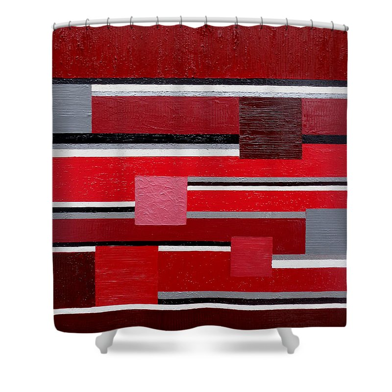 Contemporary Shower Curtain featuring the painting Red Square by Tara Hutton