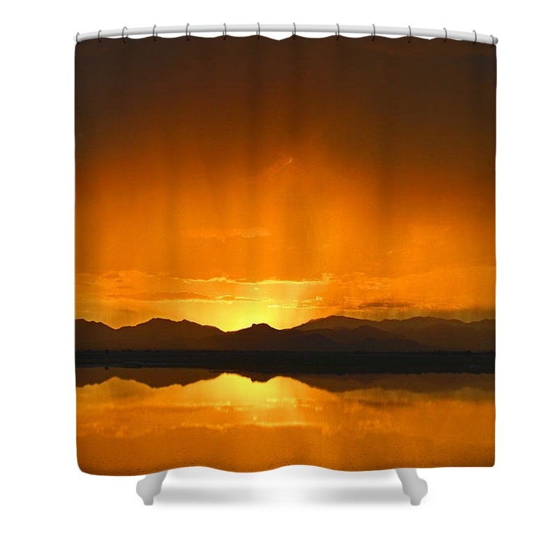 Sunset Shower Curtain featuring the photograph Red Sun Down by Brent Hall