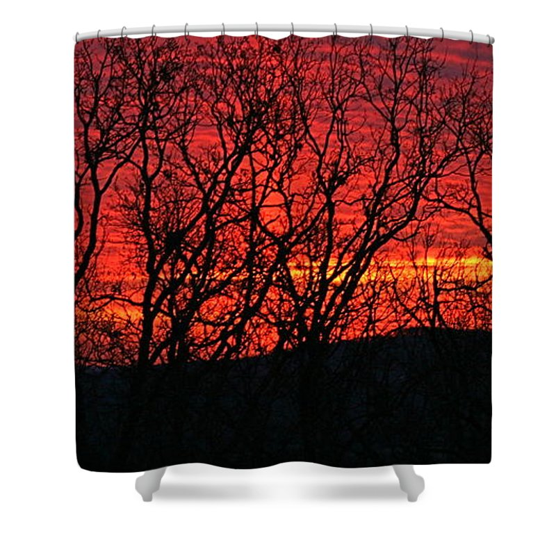 Sunrise Shower Curtain featuring the photograph Red Sunrise Over The Ozarks by Nadine Rippelmeyer