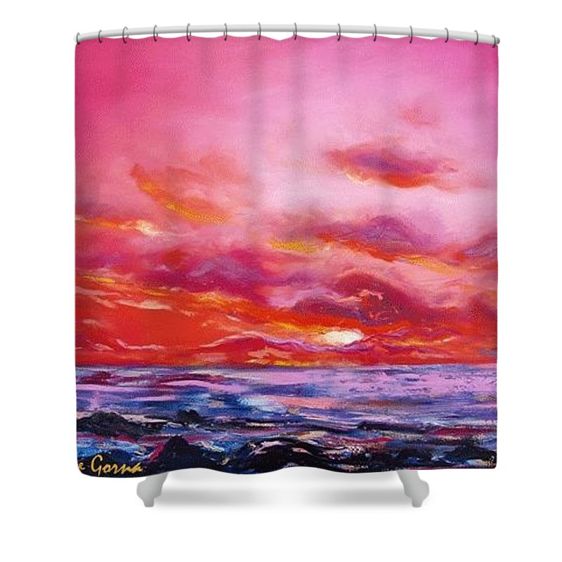 Red Shower Curtain featuring the painting Red Sunset by Gina De Gorna