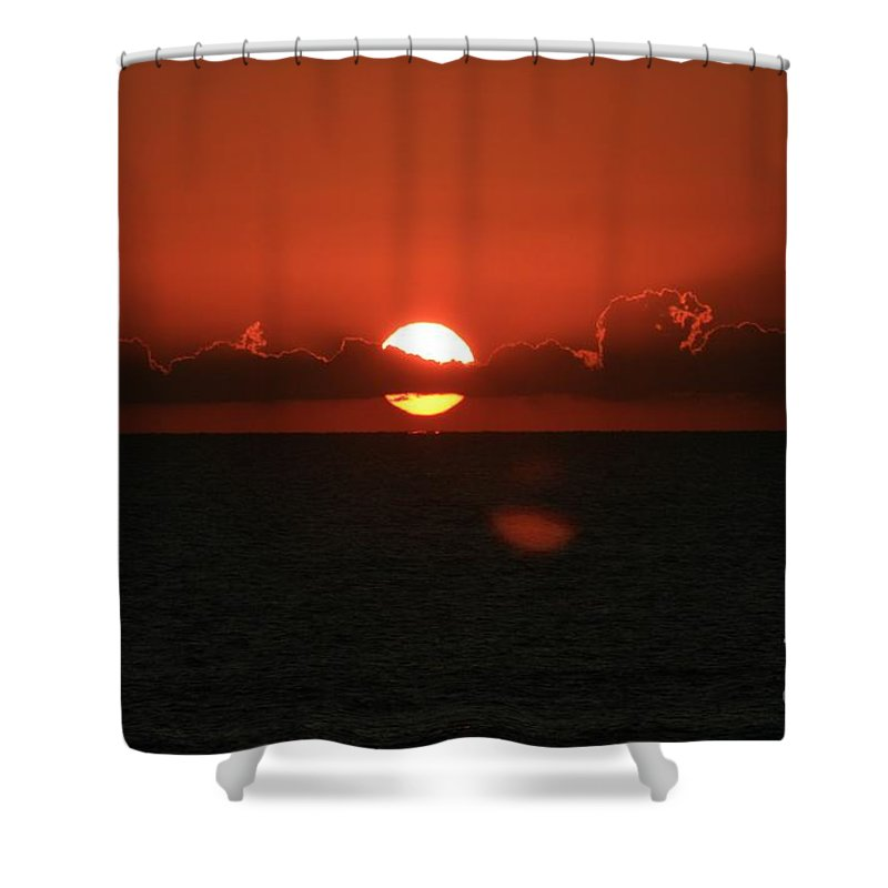 Sunset Shower Curtain featuring the photograph Red Sunset Over The Atlantic by Nadine Rippelmeyer