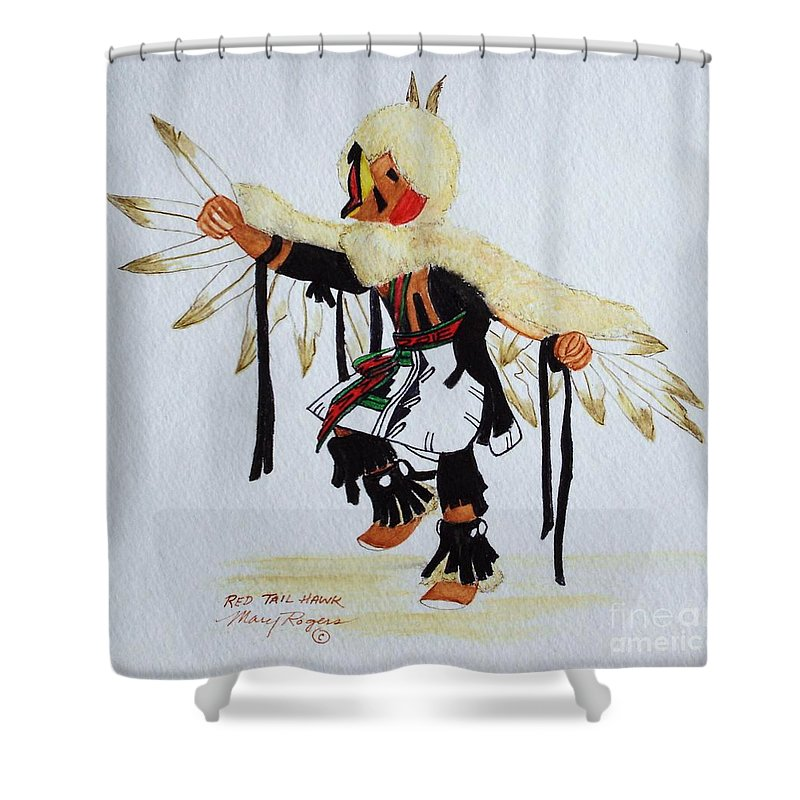 Hawk Shower Curtain featuring the mixed media Red Tail Hawk by Mary Rogers