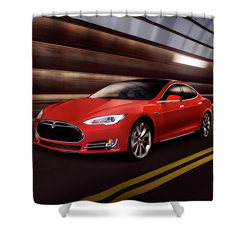 Tesla Shower Curtain featuring the photograph Red Tesla Model S Red Luxury Electric Car Speeding In A Tunnel by Maxim Images Prints
