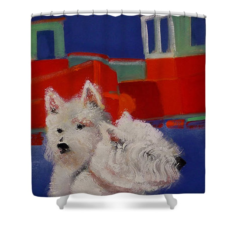 Seascapes Shower Curtain featuring the painting Red Trawlers by Charles Stuart